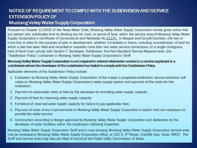 Subdivision Policy Notice